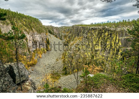 Jutulhogget, Norway. Jutulhogget is a canyon in the municipalities of Alvdal and Rendalen in Hedmark, created by the rupture of the dam of a proglacial lake. - stock photo