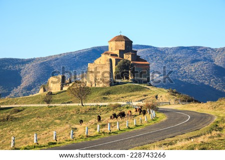 Jvari Monastery, the georgian orthodox monastery located near   Mtskheta, Georgia. - stock photo