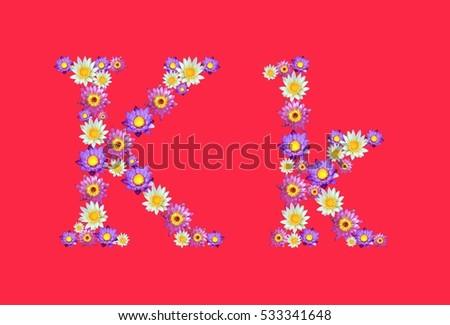 K alphabets set lotus flowers font stock photo 100 legal k alphabets set lotus flowers font isolated on red background mightylinksfo