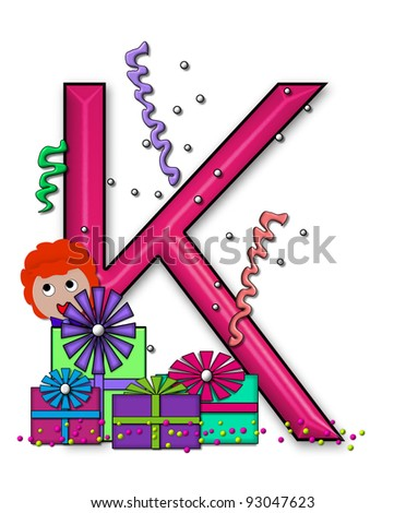 """K, in the alphabet set """"Birthday Letters"""", is surrounded by colorfully wrapped presents complete with bows.  Woman hides behind presents and peeks out pretending surprise. - stock photo"""