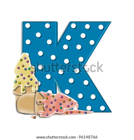 K,  in the alphabet set Creamy Treat, is aqua with white polka dots.  Melting ice cream cone sits at base of letter.  Frozen treat has colorful sprinkles.