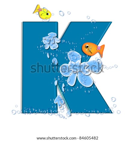 "K, in the alphabet set ""Splish Splash"", two colorful fish are swimming in water drops and waves splashing.  Letters are blue. - stock photo"