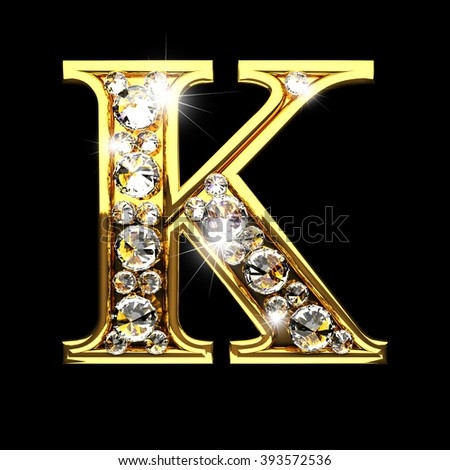 k isolated golden letters with diamonds on black