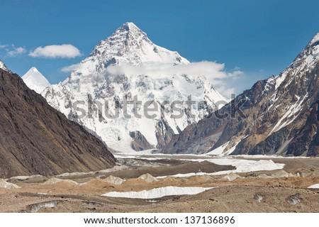K2, the second highest mountain in the world. Karakorum Range, Pakistan - stock photo