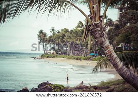 Kaanapali Beach, Maui Hawaii Tourist Destination  - stock photo