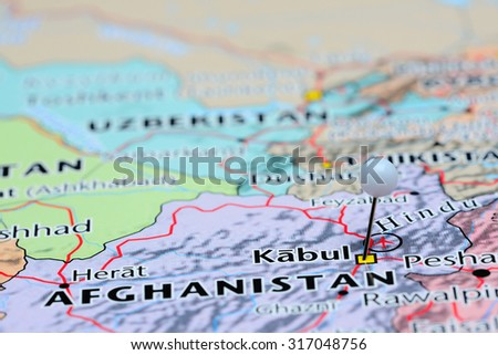 Kabul pinned on a map of Asia  - stock photo