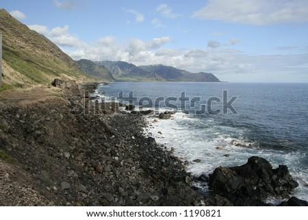 Kaena Point wavebreak, Oahu - stock photo