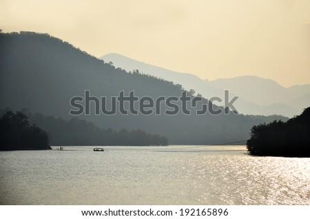Kaeng Krachan Dam in Kaeng Krachan National Park at Phetchaburi Thailand - stock photo