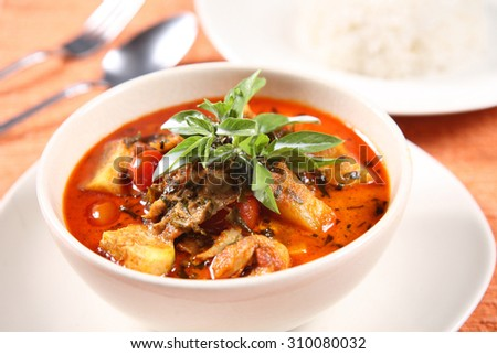 Kaeng Pled Ped Yang (Roasted Duck in Red Curry), Popular Thai food - stock photo