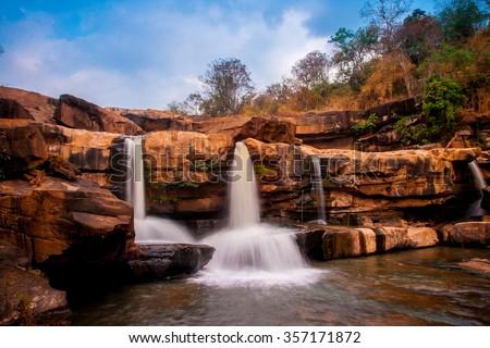 Kaeng Sopha Waterfall in Winter - Phuhin Rongkla National Park, Thailand - stock photo