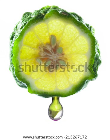 Kaffir Lime and drop on white background - stock photo