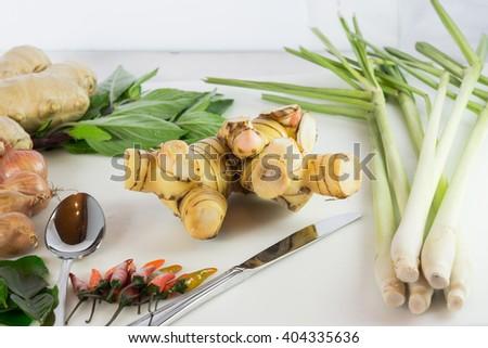kaffir lime leaf, lemon, lemongrass, galangal, chili, onions, herb - stock photo