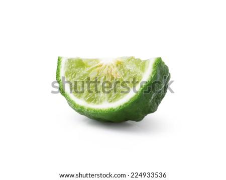 kaffir Lime or Bergamot fruit on white background - stock photo