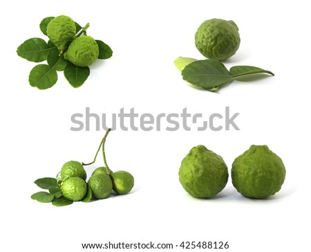 Kaffir lime with isolated on white background, lime leafs, lime fruit, cut lime - stock photo