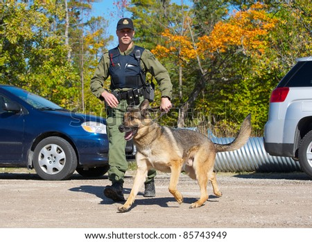 KAGAWONG, ONTARIO, CANADA -OCTOBER 1: Police dog demonstration showing drug sniffing and attack training on October 1, 2011 in Kagawong, on Manitoulin Island, Ontario Canada. - stock photo