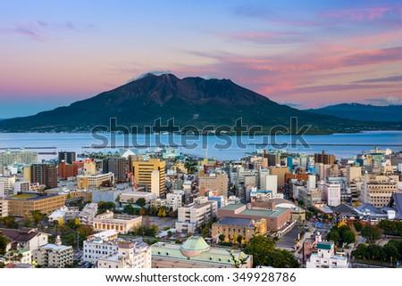 Kagoshima, Japan city skyline with Sakurajima Volcano. - stock photo