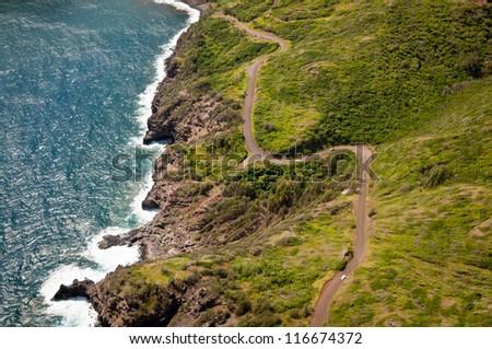 Kahekili highway winding along Maui  island coast - stock photo