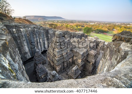 Kailas temple in Ellora caves complex, Maharashtra state in India - stock photo