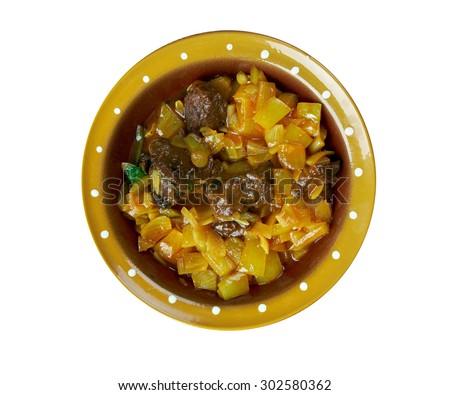 Kairi ka do pyaza - lamb meat preparation along with mangoes from Hyderabad, India - stock photo