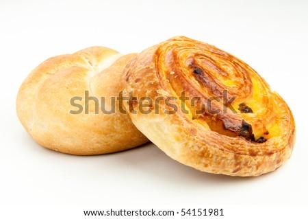 kaiser bun and danish pastry isolated on white - stock photo