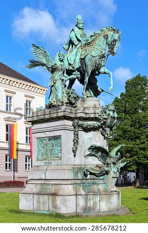Kaiser Wilhelm Monument in Dusseldorf, Germany. The monument by the German sculptor Karl Janssen was unveiled on October 18, 1896. - stock photo