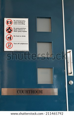 KAITAIA,NZL - AUG 18 2014:Trial in closed court.It's a procedure where a Judge privately looks at confidential,sensitive or private information to determine what may be used by a party or made public. - stock photo