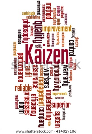 Kaizen - continuous improvement process, word cloud concept on white background.