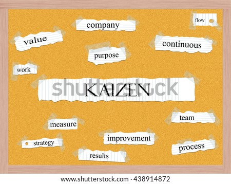 Kaizen Corkboard Word Concept with great terms such as value, purpose, flow and more. - stock photo
