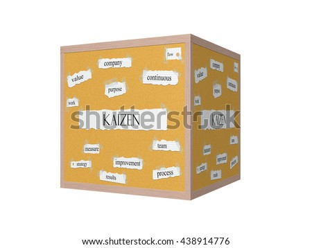 Kaizen 3D Corkboard Word Concept with great terms such as value, purpose, flow and more. - stock photo