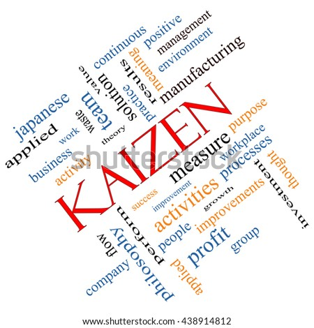 Kaizen Word Cloud Concept angled with great terms such as improvement, positive, success and more. - stock photo