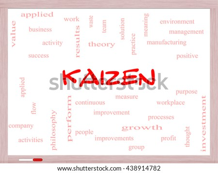 Kaizen Word Cloud Concept on a Whiteboard with great terms such as improvement, positive, success and more. - stock photo