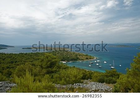 Kakan anchorage in Kornati archipelago, Croatia. - stock photo