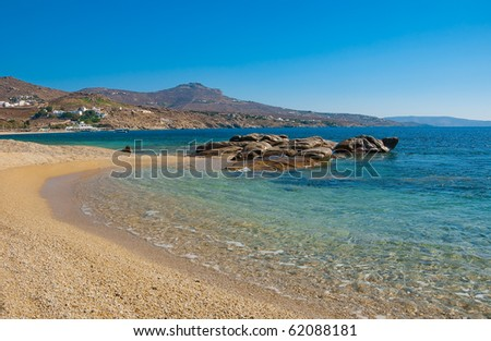 Kalafatis Bay beach on the island of Mykonos. Greece. - stock photo