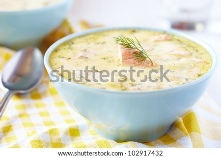 Kalakeitto - Finnish Fish Soup with Salmon, Cream and Potatoes - stock photo