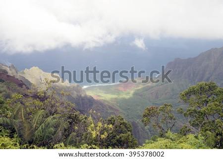 Kalalau Lookout, Kauai, Hawaii - stock photo