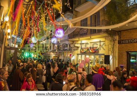 Kalamata Messenia, Greece - March 5 2016: Preparations for the annual carnival in Kalamata, folk festivals, night parade on 5 March 2016 in Kalamata, Peloponnese, Greece