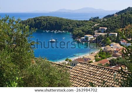 Kalami bay on Corfu island, Greece - stock photo