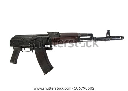 kalashnikov airborne assault rifle aks 74 isolated on a white background
