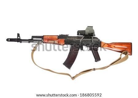 Kalashnikov AK assault rifle with optical sight on white - stock photo