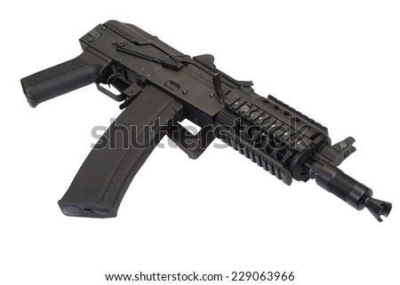 Kalashnikov AK47 short  with modern update isolated on white