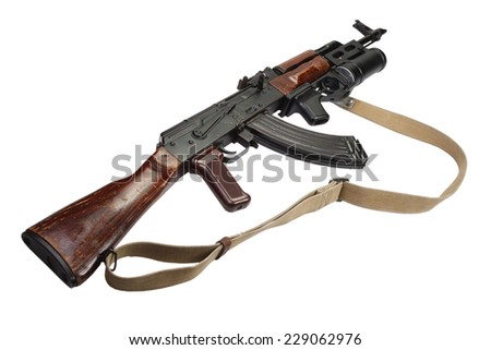 Kalashnikov AK 47 with GP-25 grenade launcher isolated on white
