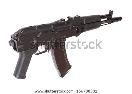 Kalashnikov AK with optical sight on white