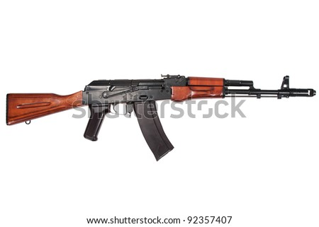 kalashnikov assault rifle ak74n isolated on a white background - stock photo