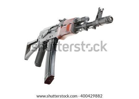Kalashnikov assault rifle, Isolated - stock photo