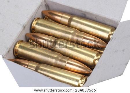 kalashnikov cartridges in box - stock photo