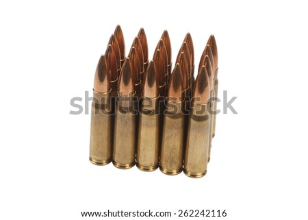 kalashnikov cartridges isolated on white - stock photo