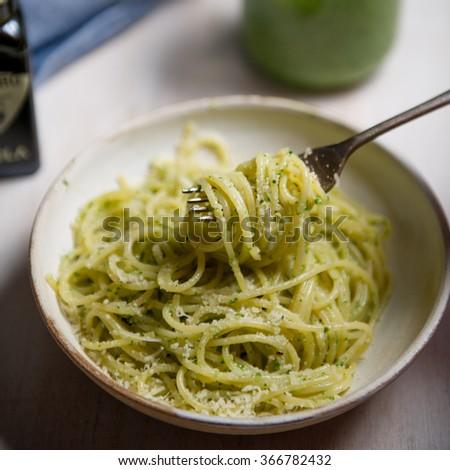 Kale pesto pasta - stock photo