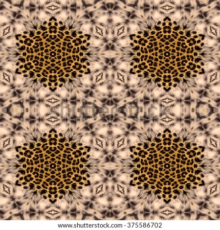 Kaleidoscope abstract background. Seamless pattern. Based on leopard fur.