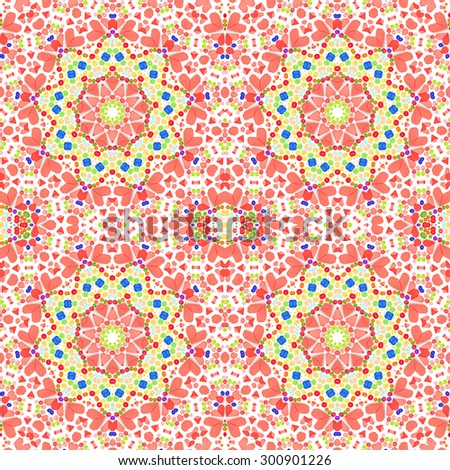 kaleidoscope seamless pattern made from Paper and colorful plastic buttons  texture background       - stock photo