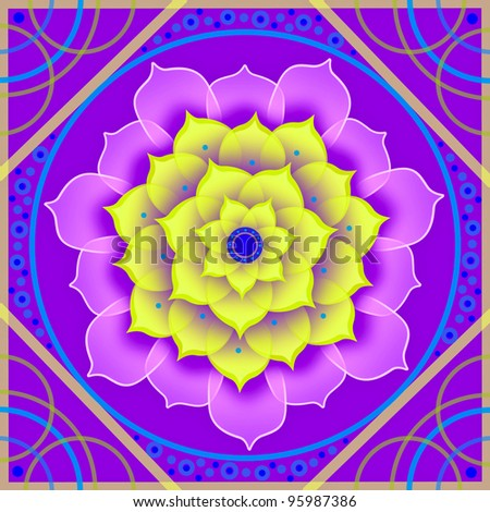 Kaleidoscopic floral pattern, mandala sacred circle - stock photo